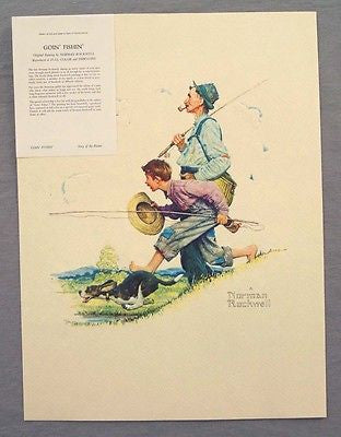 Vintage 1970's Embossed Norman Rockwell Goin Fishin Print 249-101