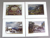 Vintage Currier and Ives Nostalgic America Foil Etch Print Set 241-119