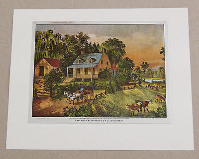 Vintage Currier and Ives American Homestead Summer Color Foil Etch Print