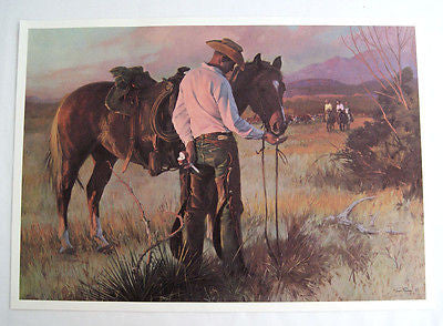 Vintage 1970's Tom Ryan Sharing An Apple Cowboy Western Print
