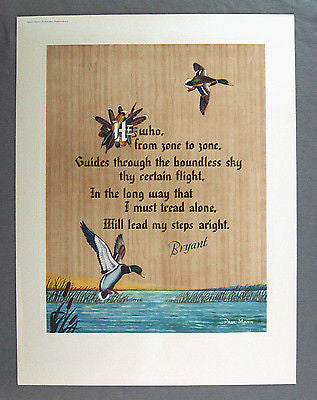 Vintage 1940's Paul Mann - To A Waterfowl William Cullen Bryant Poem Print