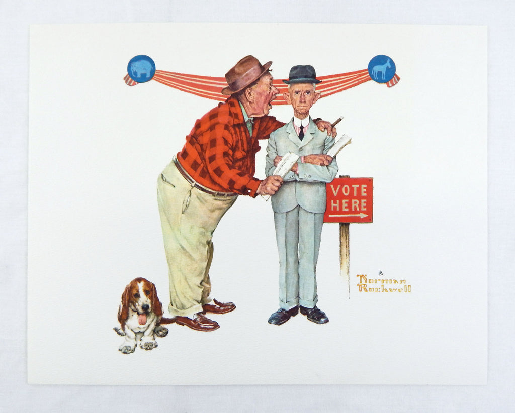 Vintage 1970's Norman Rockwell Final Speech Vote Here Print