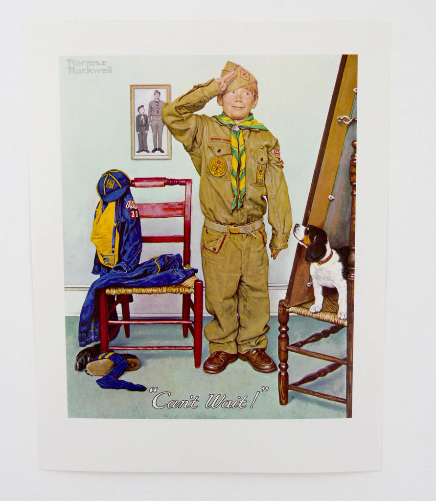 Vintage 1970's Norman Rockwell Can't Wait Boy Scout Print
