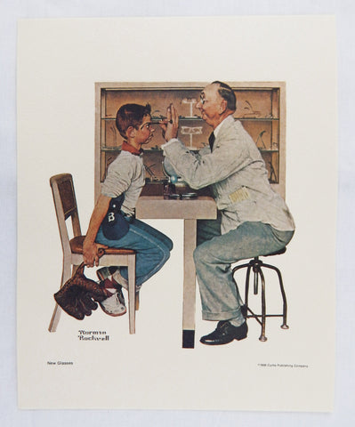 Vintage 1970's Norman Rockwell New Glasses Saturday Evening Post Print