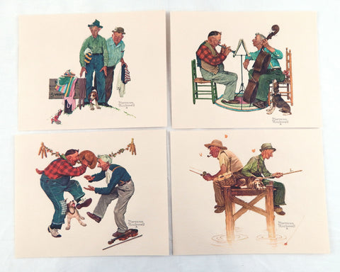 Vintage 1970's Norman Rockwell Old Timers Embossed 4 Print Set