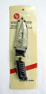 Vintage SE Multifunction Stainless Steel Serrated Blade Knife and Sheath