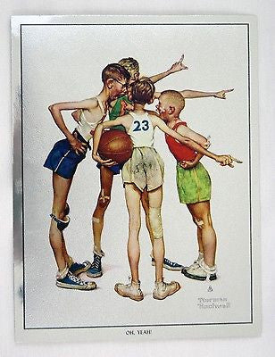 Vintage Norman Rockwell Oh Yeah! Sporting Boys Basketball Foil Etch Print
