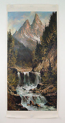 Vintage 1966 Kurt Moser Waterfall in the Mountains Print