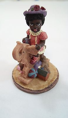 African American Young Girl On Rocking Elephant Horse Figurine
