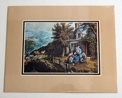 Vintage Currier and Ives The Mountaineer's Home Color Foil Etch Matted Print 2
