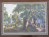 Vintage Currier and Ives The Village Blacksmith Color Foil Etch Matted Print 2
