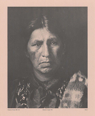 Vintage 1890 - 1910 Chippewa Portraits Native American Indian Print Plate C