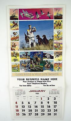 Vintage 1981 Game Birds and Wildlife Parade Calendar Print