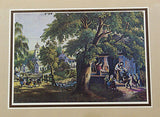 Vintage Currier and Ives The Village Blacksmith Color Foil Etch Matted Print 3