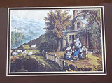 Vintage Currier and Ives The Mountaineer's Home Color Foil Etch Matted Print 4