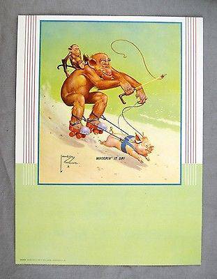 Vintage 1947 Lawson Wood Monkeys Whoopin It Up! Calendar Print