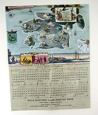 1981 2026 Robert Louis Stevenson Treasure Island Everett Henry Map and Calendar