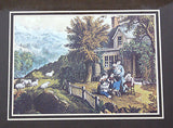 Vintage Currier and Ives The Mountaineer's Home Color Foil Etch Matted Print 5