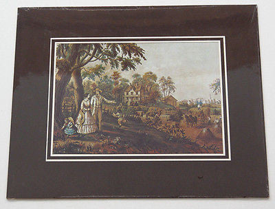 Vintage Currier and Ives Summer's Evening Color Foil Etch Matted Print 2