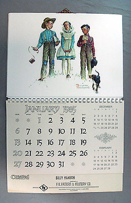 1985 2019 Norman Rockwell Young Man's Fancy Formcraft Vacuum Form Calendar