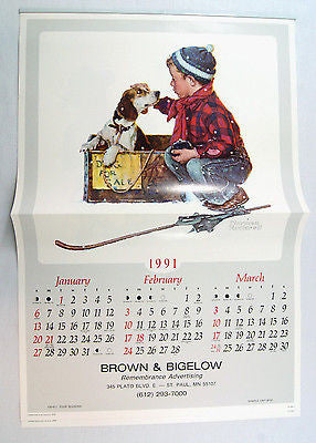 Vintage 1991 2019 Norman Rockwell A Boy and His Dog Calendar
