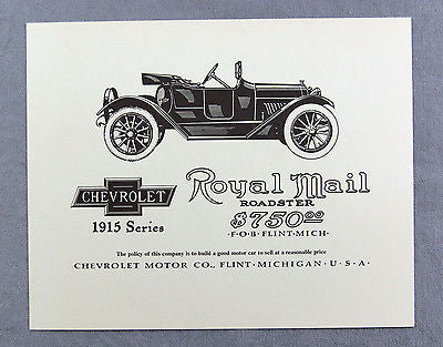 Vintage 1970's Chevrolet 1915 Royal Mail Roadster Advertisement Print