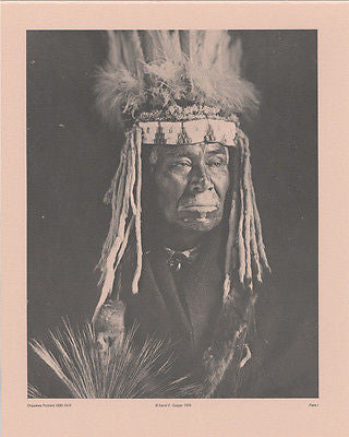 Vintage 1890 - 1910 Chippewa Portraits Native American Indian Print Plate I