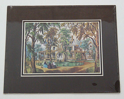 Vintage Currier and Ives A Home in the Country Color Foil Etch Matted Print 1
