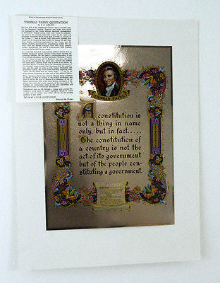 Vintage 1970's Thomas Paine Quotation Color Foil Etch Print