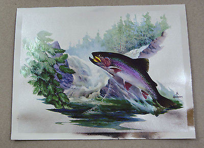 Vintage 1970's Fred Sweney Rainbow Trout Color Foil Etch Print