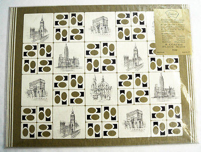 Vintage 1960's Stancraft World Travel Playing Card Place Mat Set