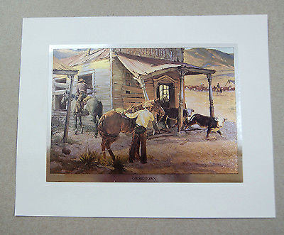 Vintage 1970's Tom Ryan Ghost Town Color Foil Etch Print