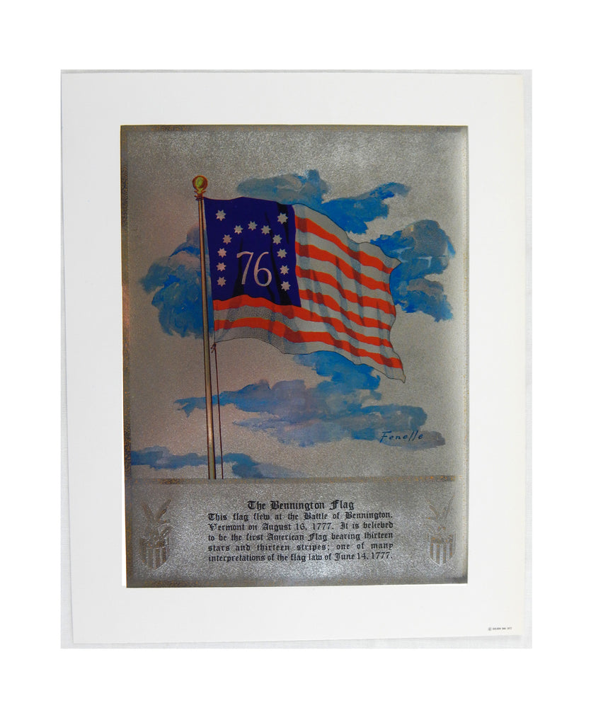 Vintage 1972 Stanford Fenelle The Bennington Flag Color Foil Etch Print