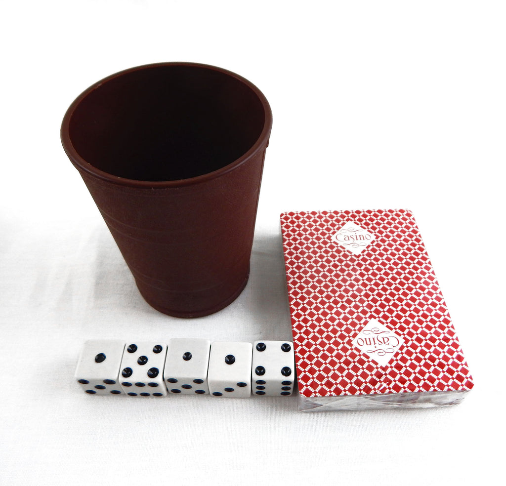 Vintage PGC Casino Poker Playing Cards and Dice Cup Set With 5 Dice