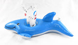 Vintage Inflatable Dolphin Floating Cup Glass Drink Holder with Plastic Tumbler