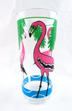 Vintage Inflatable Pink Flamingo Floating Cup Glass Drink Holder with Plastic Tumbler