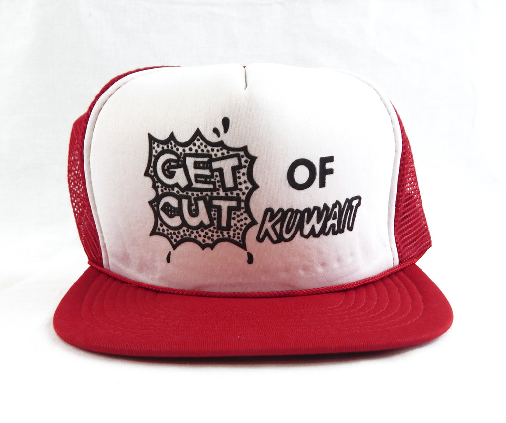 Vintage 1990's Get Out Of Kuwait Red White and Black Mesh Trucker Hat