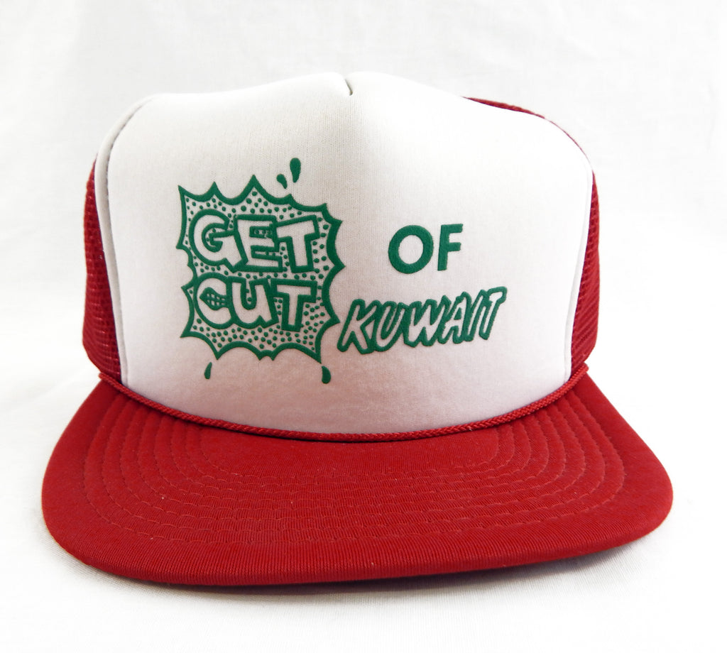 Vintage 1990's Get Out Of Kuwait Red White and Green Mesh Trucker Hat