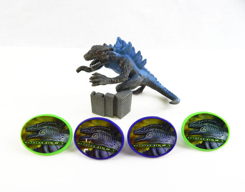 1998 Bakery Crafts Godzilla Cake Topper With 4 Rings
