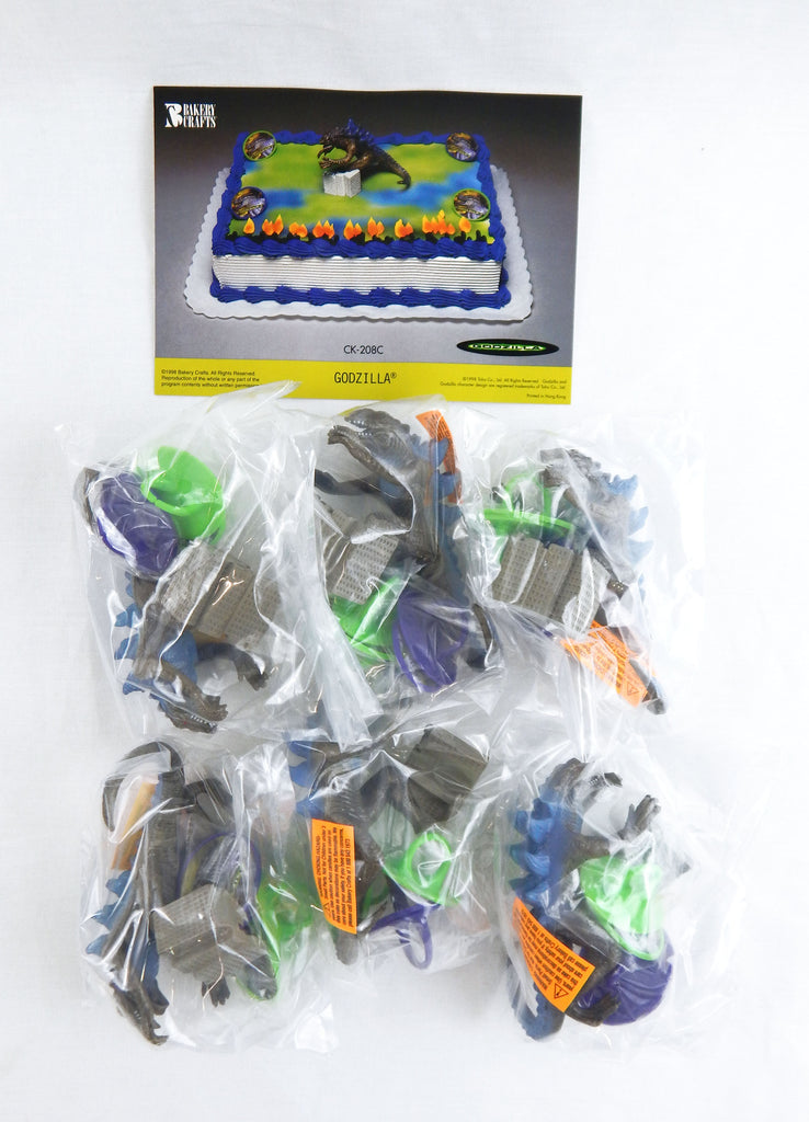1998 Bakery Crafts Set of Six Godzilla Cake Toppers