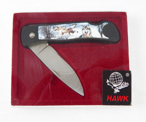 Hawk Brand Grey Wolf Folding Lockback Pocket Knife