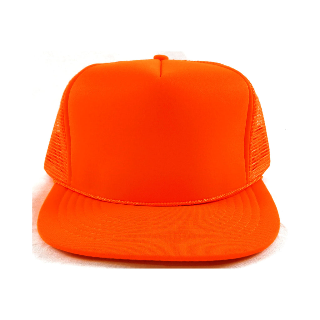 Vintage 1990's Headmost Blaze Orange Mesh Trucker Hat