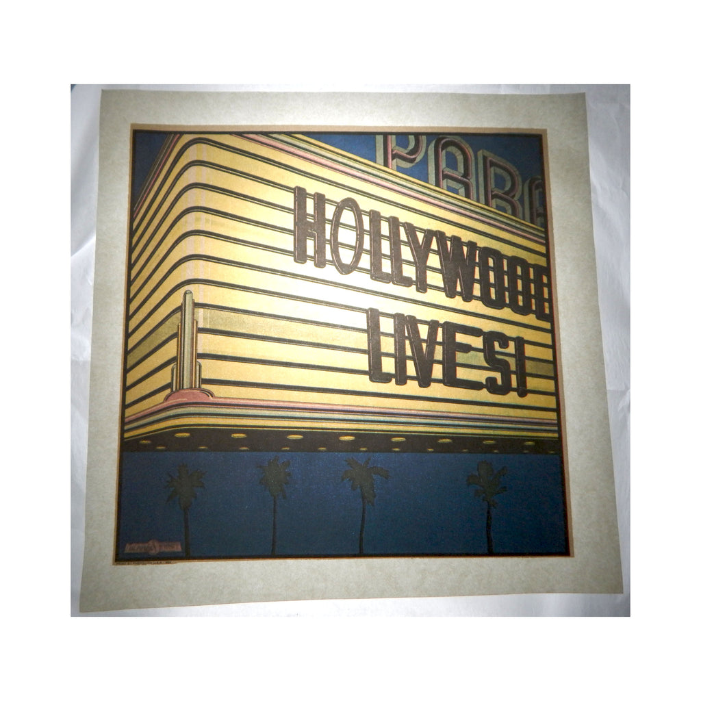 Vintage 1970's Hollywood Lives Theater Marquee Iron On T shirt Transfer