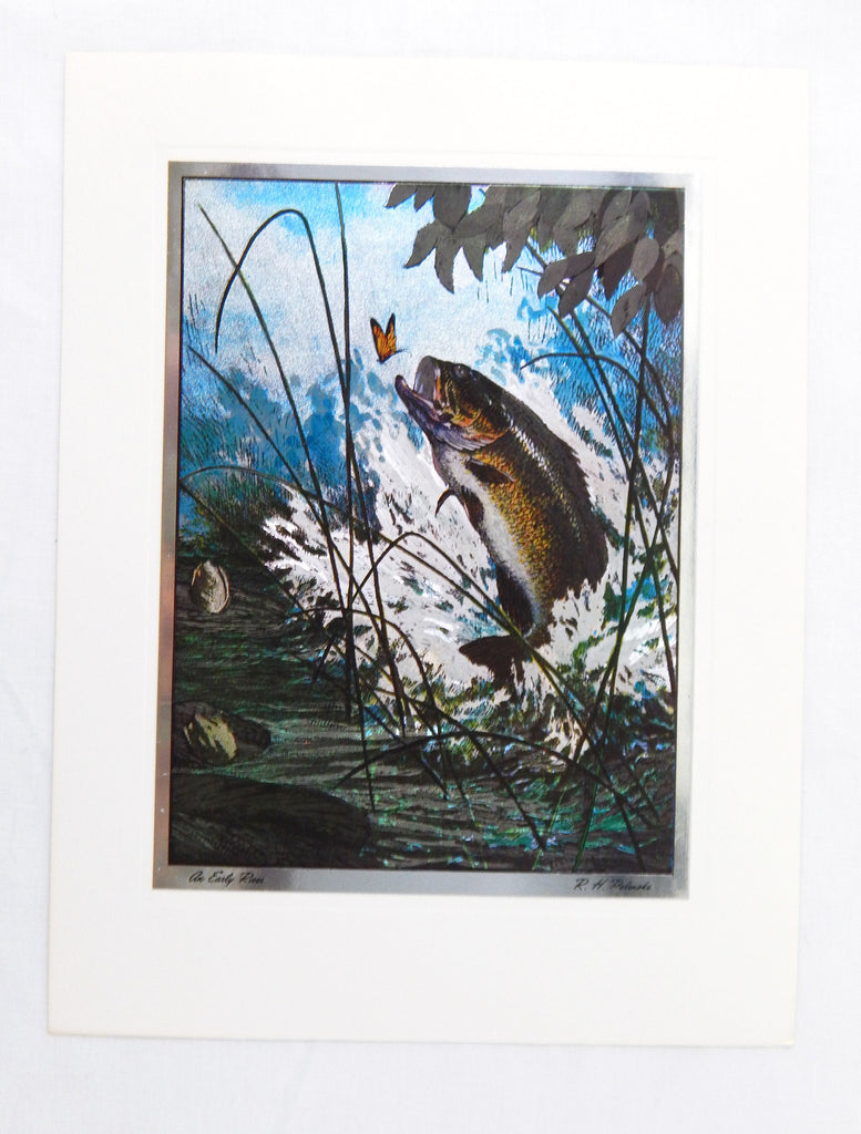Vintage 1970's R. H. Palenske An Early Riser Color Foil Etch Print