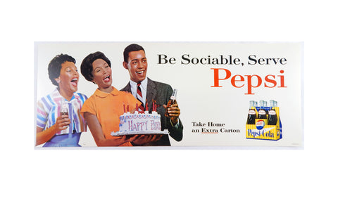 Vintage 1960's Pepsi Be Sociable, Serve Pepsi Birthday Party Bus Trolley Sign