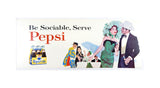 Vintage 1940's and 1960's Set of Four Pepsi Bus Trolley Car Signs