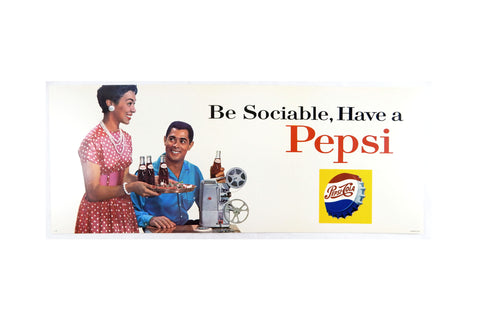 Vintage 1960's Pepsi Be Sociable, Have A Pepsi Movie Night Bus Trolley Sign