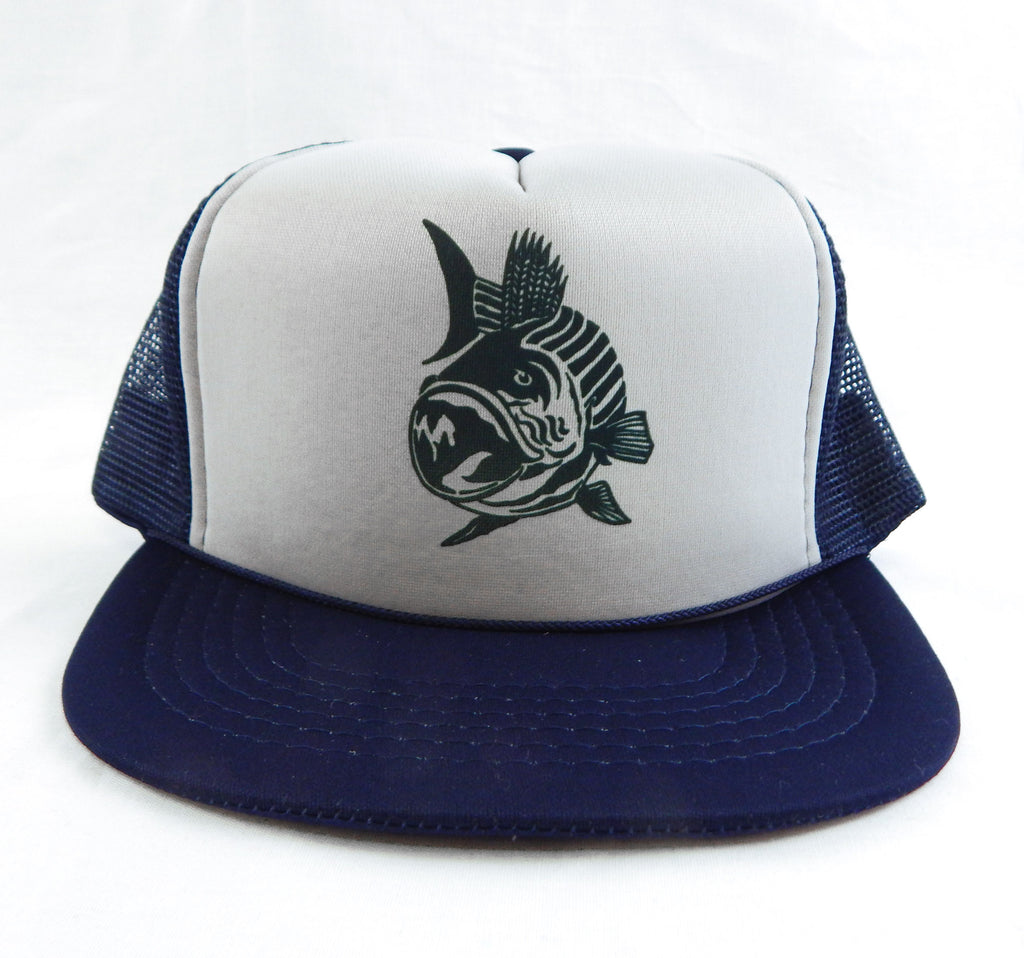 Vintage 1990's Striped Bass Gray and Blue Mesh Trucker Hat