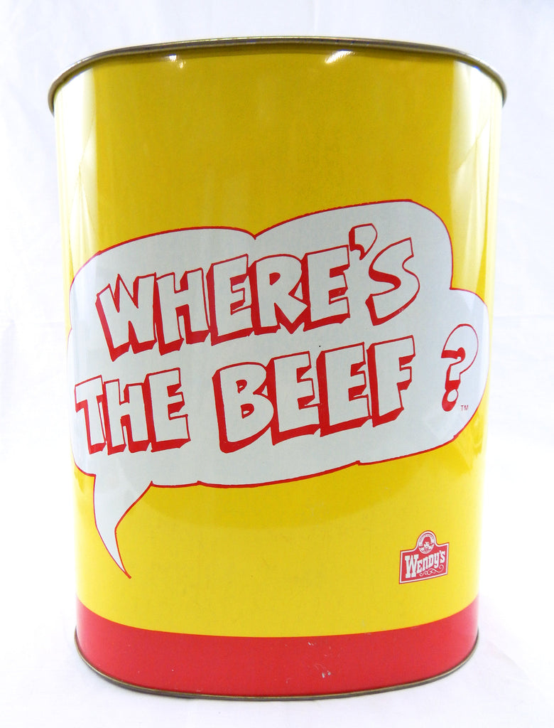 Vintage 1984 Wendy's Where's The Beef Trash Can