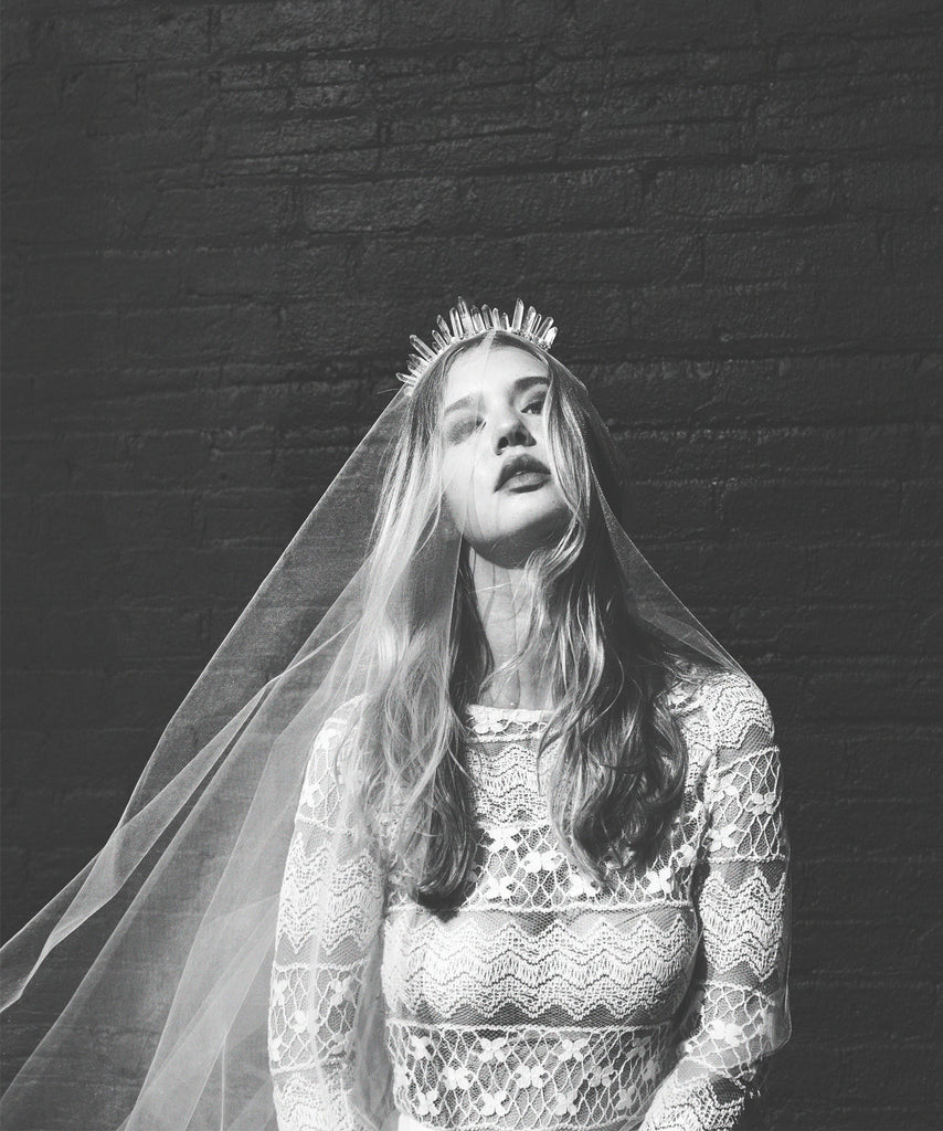 White Fingertip veil paired with white Quartz crown- As One Weds